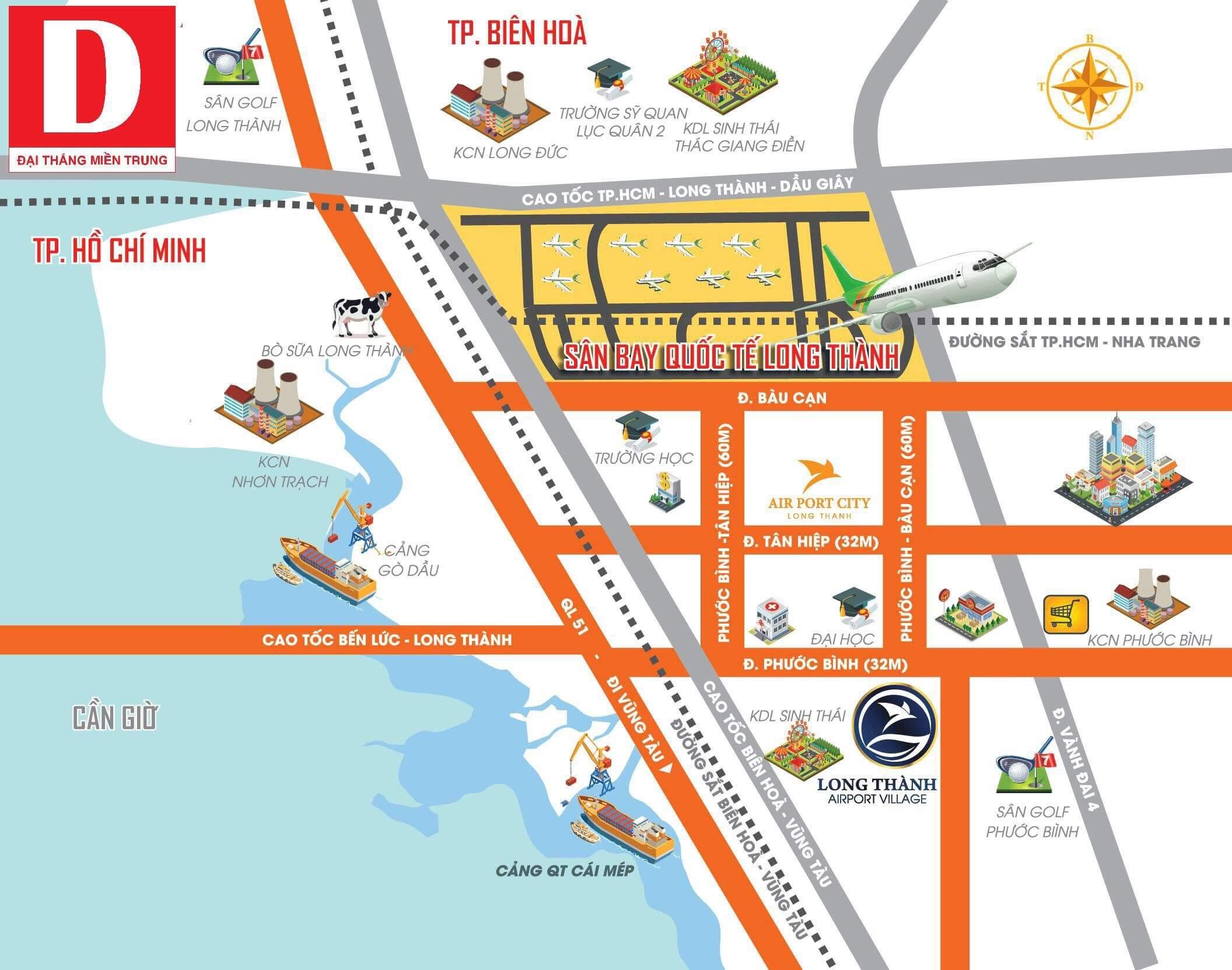 Vị trí dự án Long Thành Airport Village
