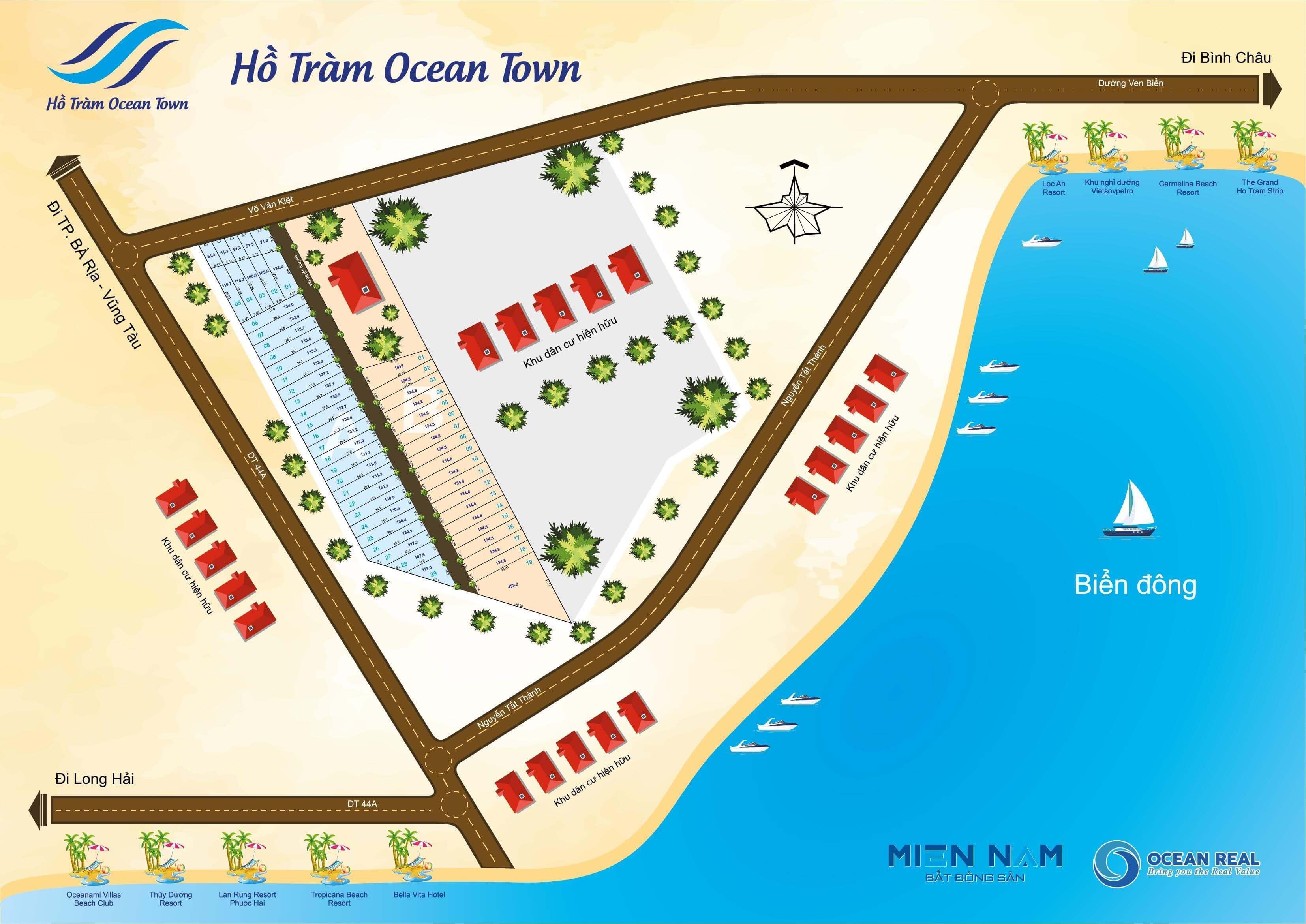 Sơ đồ phân lô Dự án Hồ Tràm Ocean Town