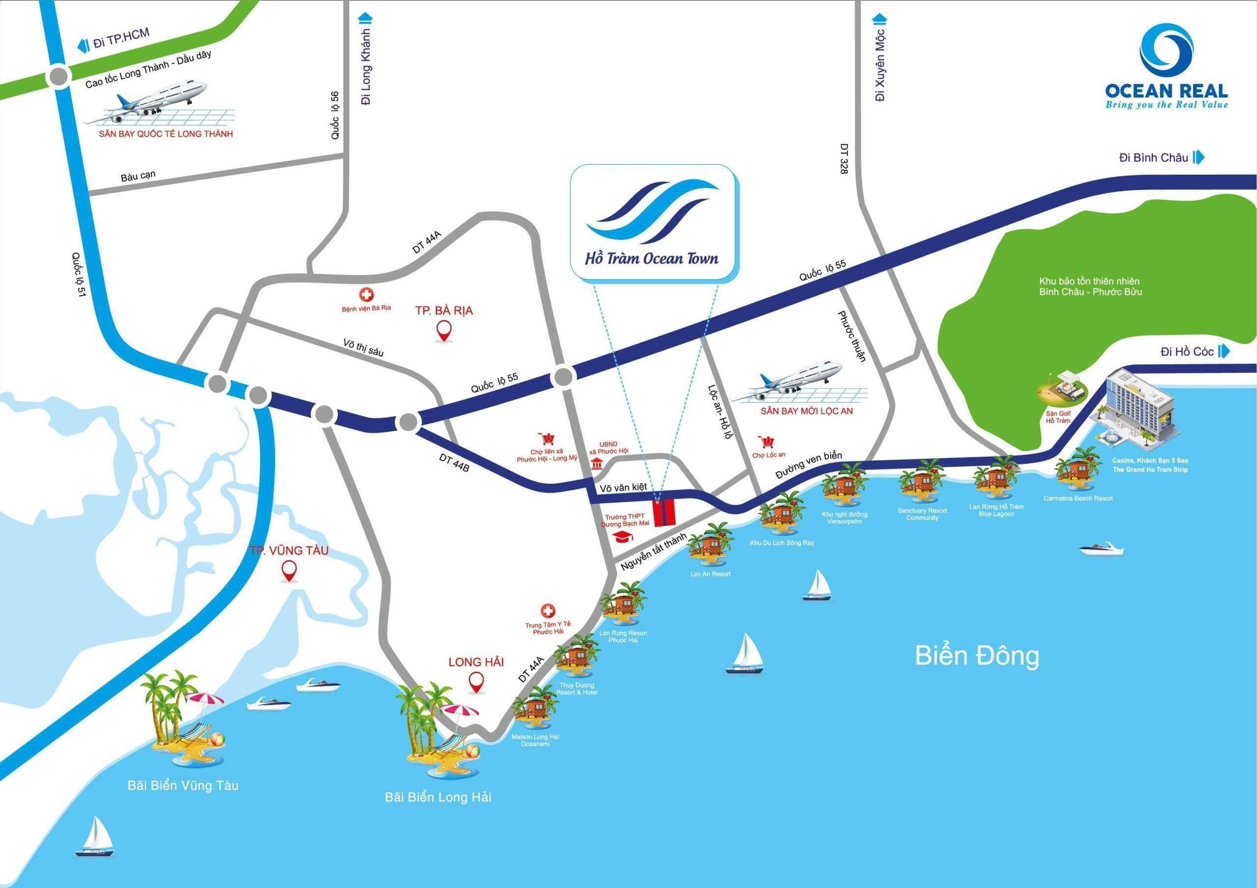vị trí dự án hồ tràm ocean town
