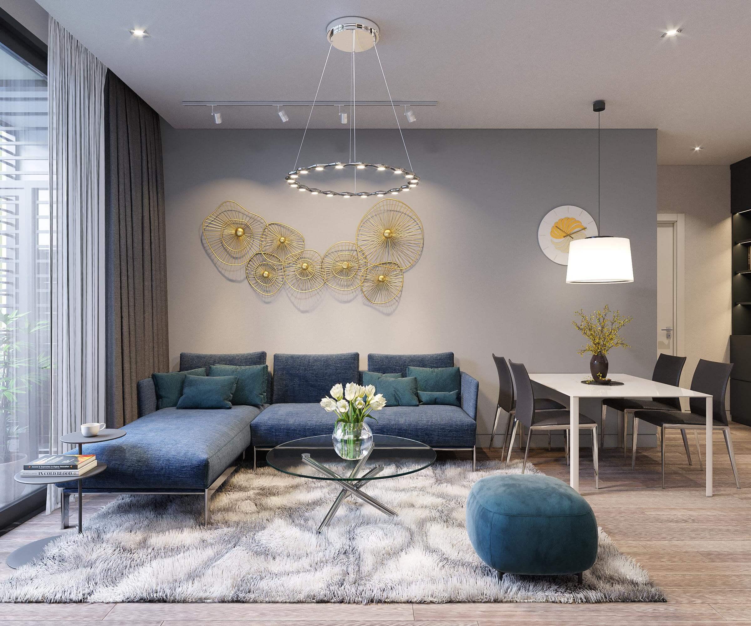 Phòng khách căn hộ 1pn the sang residence