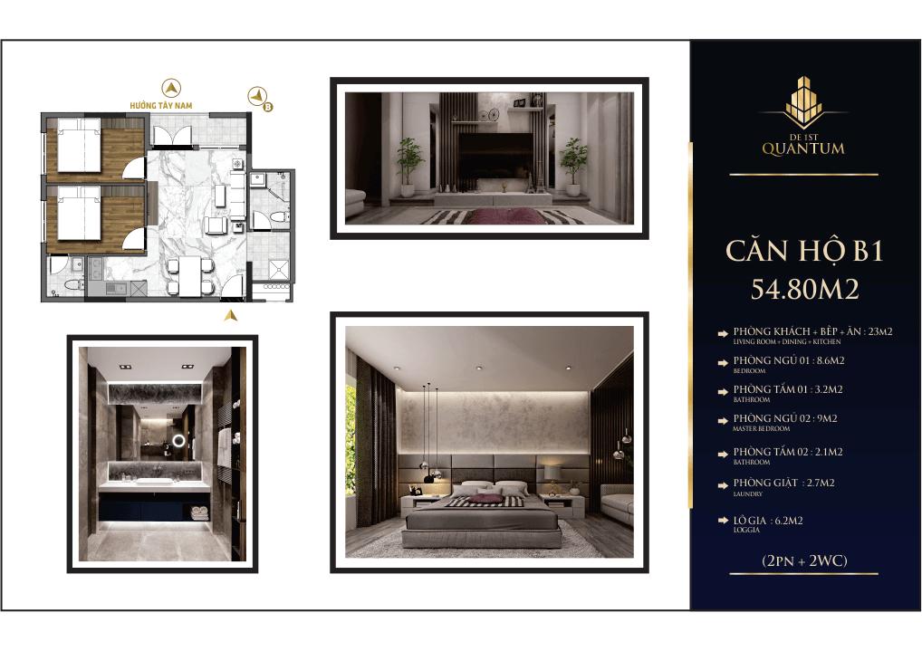 Mẫu căn hộ chung cư b1 54.8m2 de 1st quatum huế