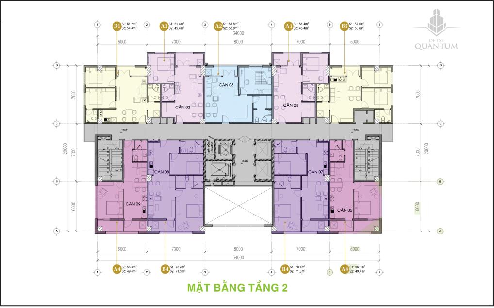 Mặt bằng tầng 2 căn hộ cung cư 1 de 1st quantum huế