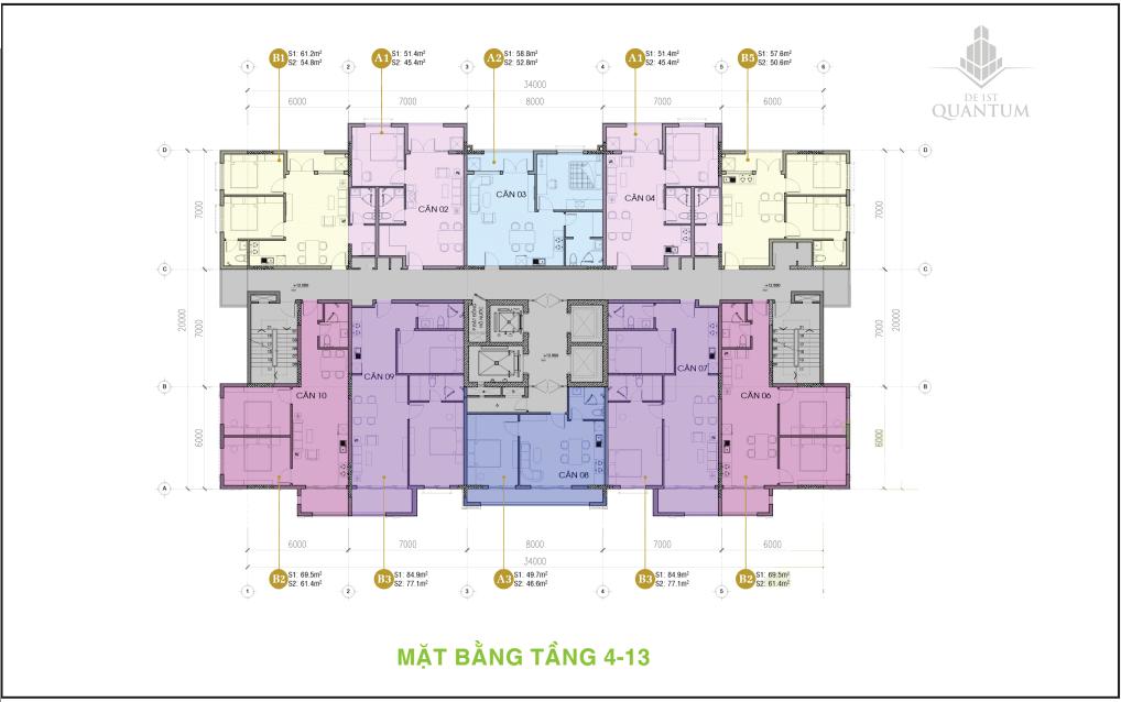 mặt bằng tầng 3-14 căn hộ chung cư de 1st quantum huế