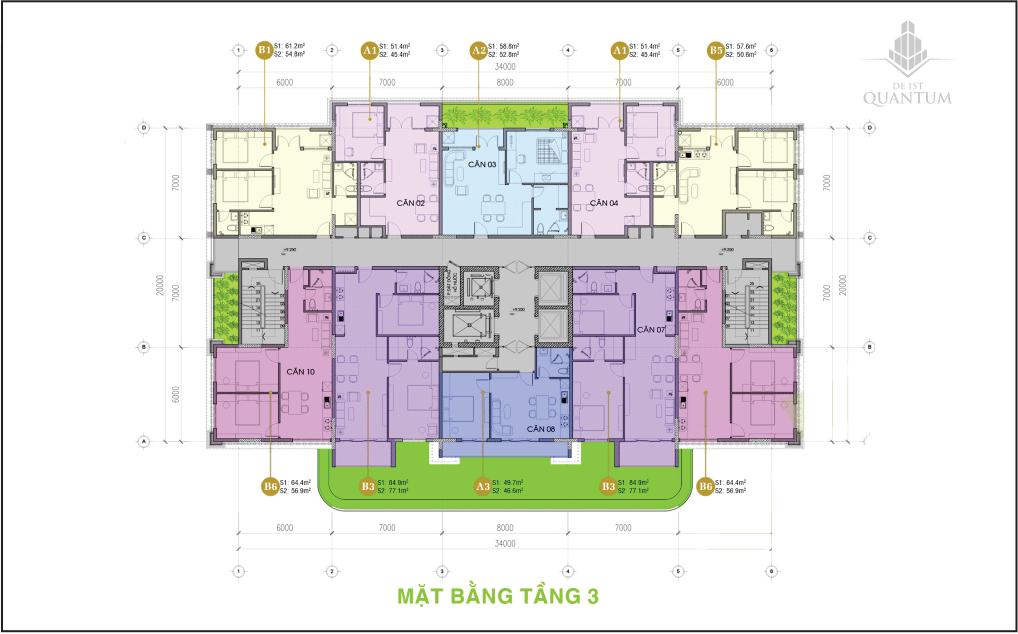 mặt bằng tầng 3 căn hộ de 1st quantum huế